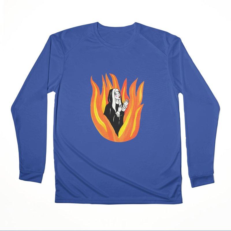 BURNING NUN Men's Performance Longsleeve T-Shirt by Hate Baby Comix Artist Shop