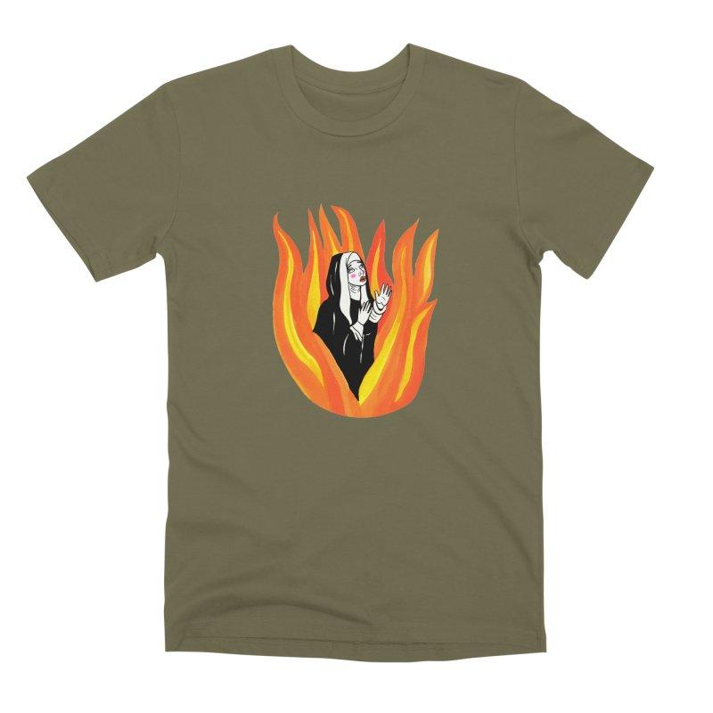 BURNING NUN Men's Premium T-Shirt by Hate Baby Comix Artist Shop