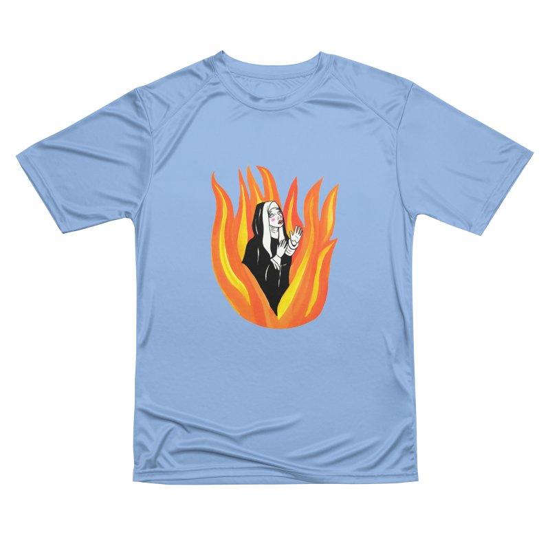 BURNING NUN Women's Performance Unisex T-Shirt by Hate Baby Comix Artist Shop