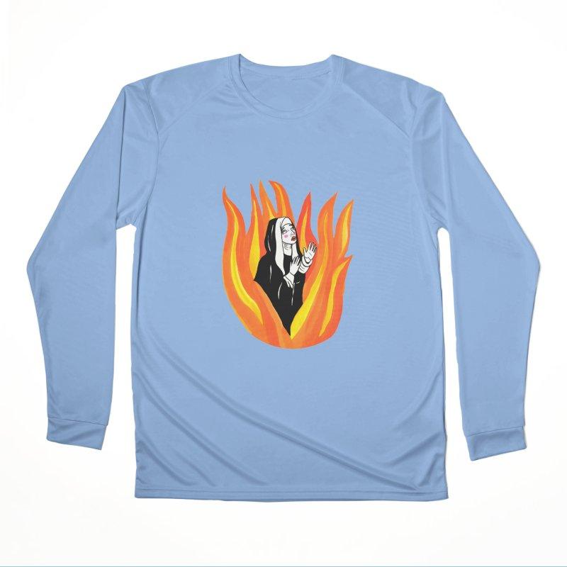 BURNING NUN Women's Performance Unisex Longsleeve T-Shirt by Hate Baby Comix Artist Shop