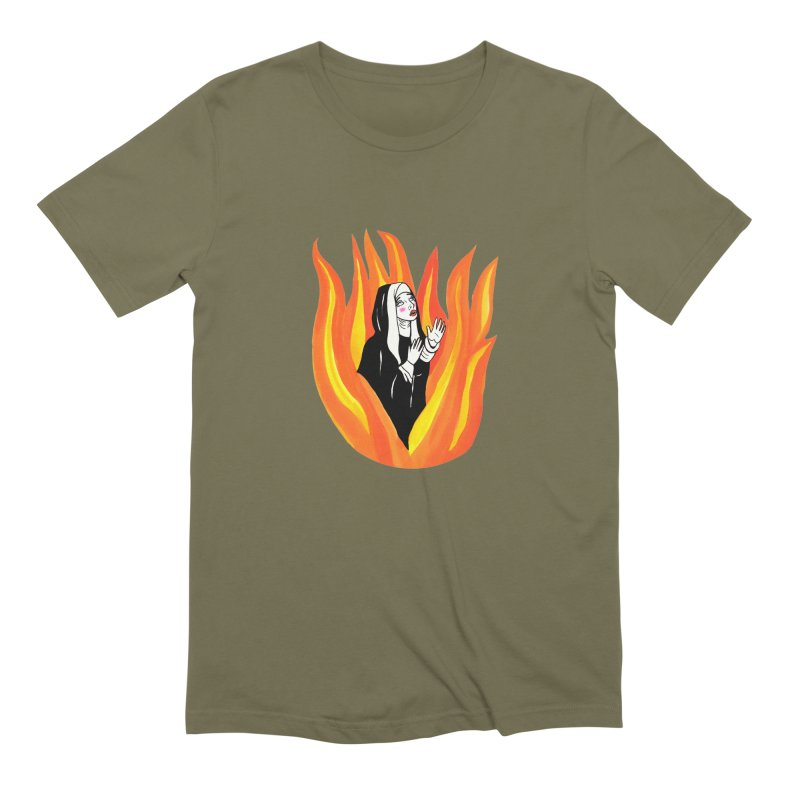 BURNING NUN Men's Extra Soft T-Shirt by Hate Baby Comix Artist Shop