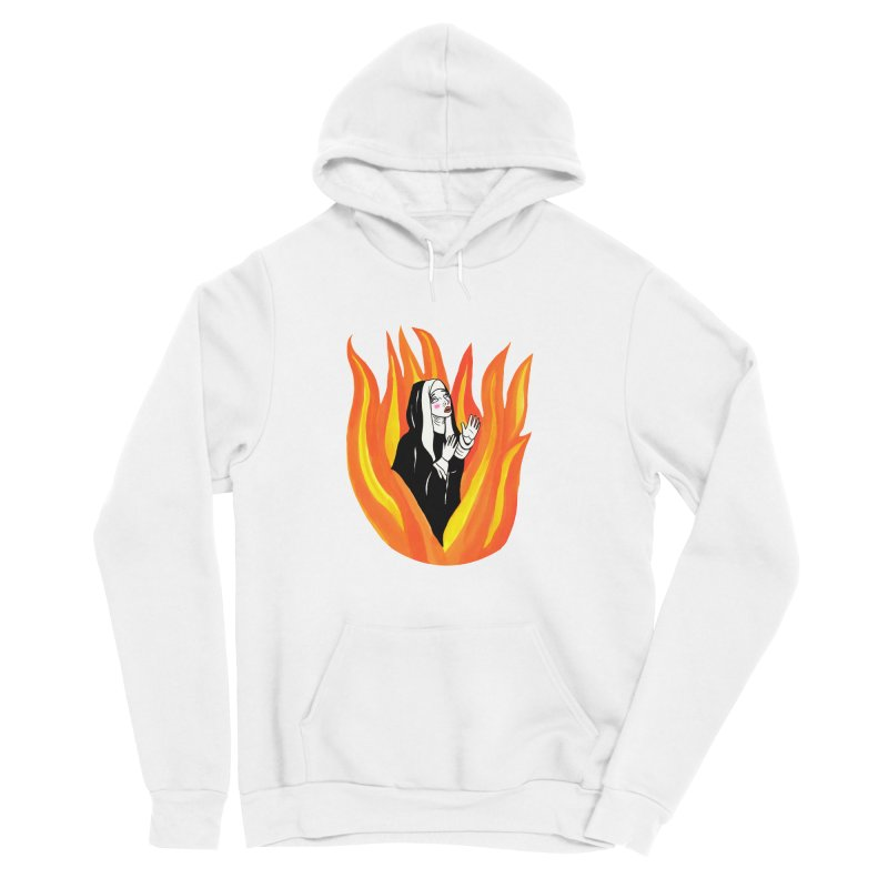 BURNING NUN Women's Sponge Fleece Pullover Hoody by Hate Baby Comix Artist Shop