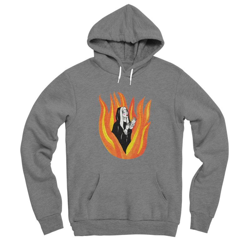 BURNING NUN Men's Sponge Fleece Pullover Hoody by Hate Baby Comix Artist Shop