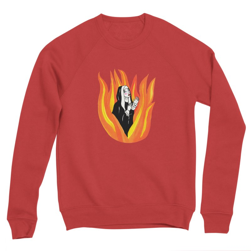 BURNING NUN Women's Sponge Fleece Sweatshirt by Hate Baby Comix Artist Shop