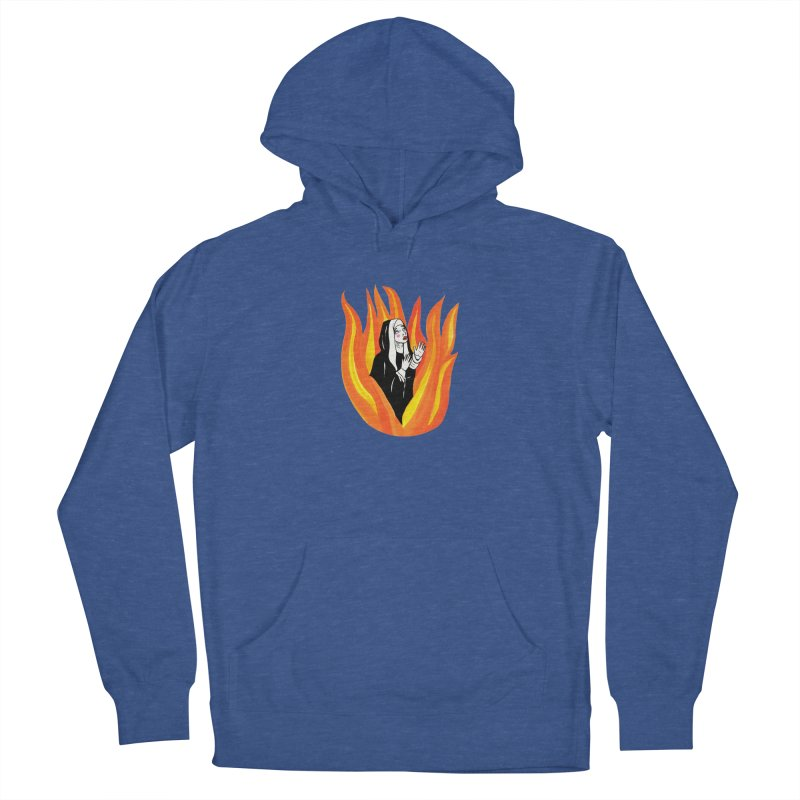 BURNING NUN Men's French Terry Pullover Hoody by Hate Baby Comix Artist Shop