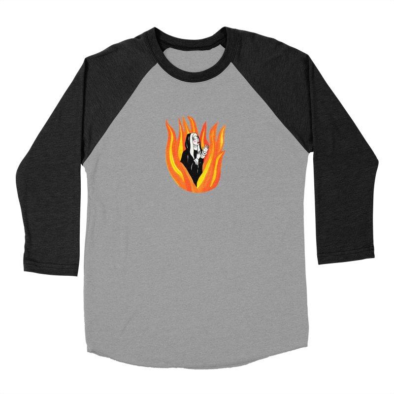 BURNING NUN Women's Baseball Triblend Longsleeve T-Shirt by Hate Baby Comix Artist Shop
