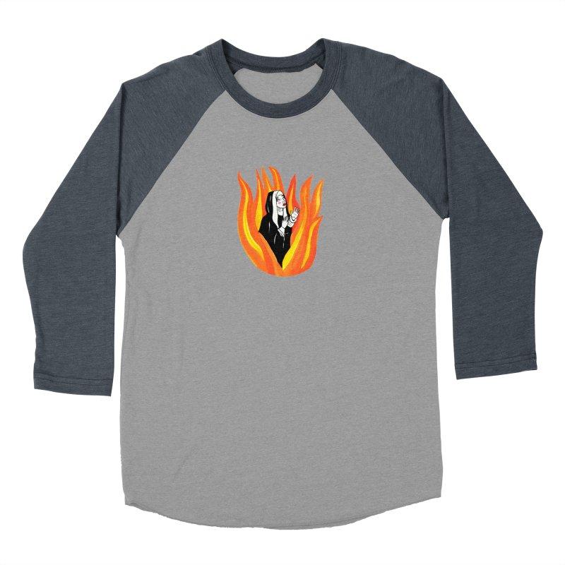 BURNING NUN Men's Baseball Triblend Longsleeve T-Shirt by Hate Baby Comix Artist Shop