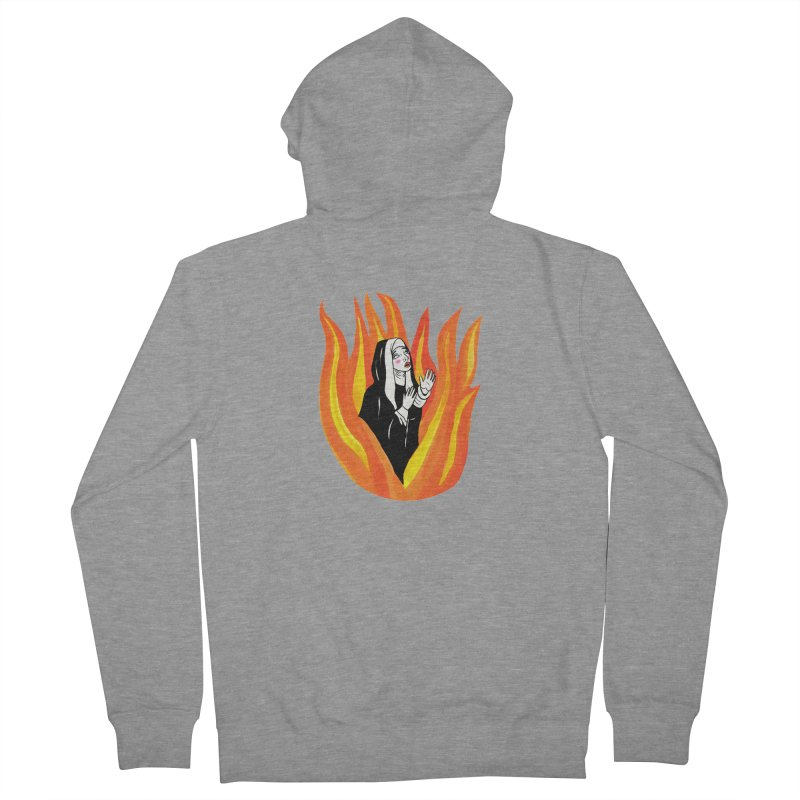 BURNING NUN Women's French Terry Zip-Up Hoody by Hate Baby Comix Artist Shop