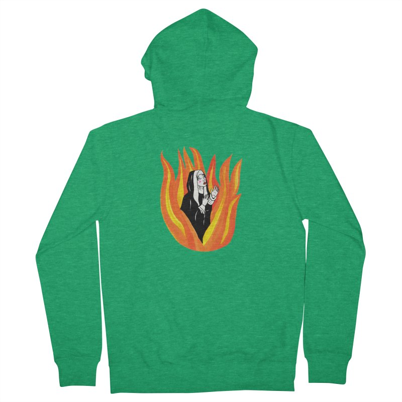 BURNING NUN Men's Zip-Up Hoody by Hate Baby Comix Artist Shop
