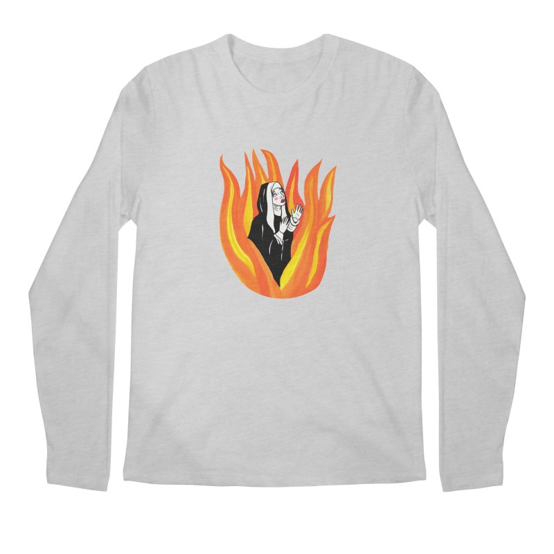 BURNING NUN Men's Regular Longsleeve T-Shirt by Hate Baby Comix Artist Shop