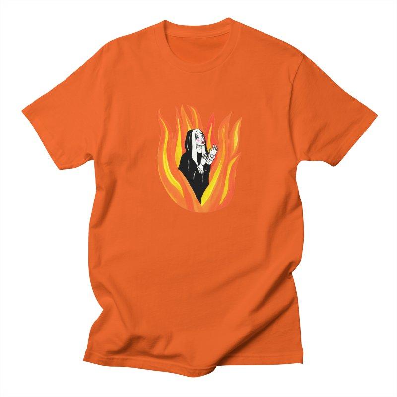 BURNING NUN Women's Regular Unisex T-Shirt by Hate Baby Comix Artist Shop