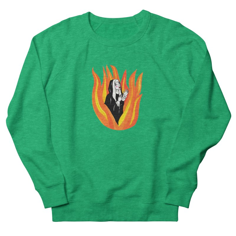 BURNING NUN Women's French Terry Sweatshirt by Hate Baby Comix Artist Shop