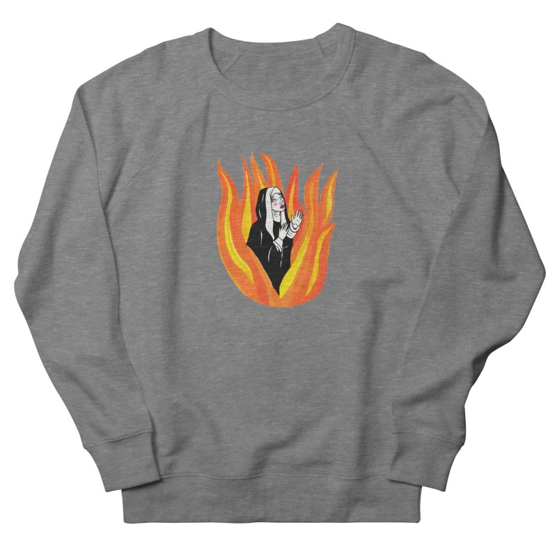 BURNING NUN Men's French Terry Sweatshirt by Hate Baby Comix Artist Shop