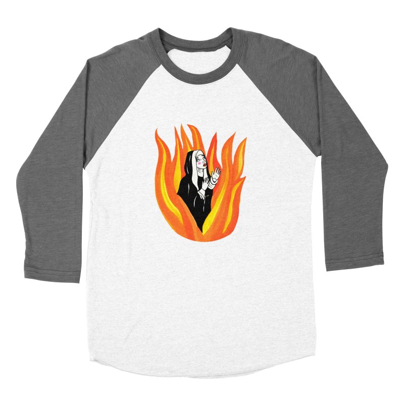 BURNING NUN Men's Baseball Triblend Longsleeve T-Shirt by Hate Baby Comix Artist Shop