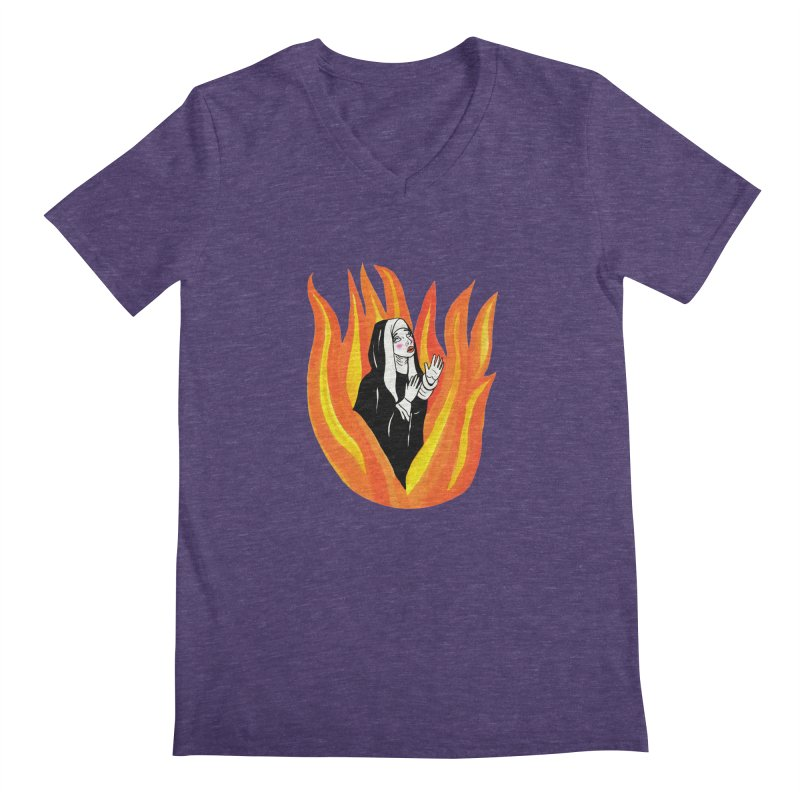 BURNING NUN Men's Regular V-Neck by Hate Baby Comix Artist Shop