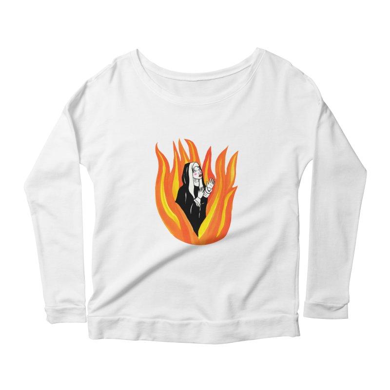 BURNING NUN Women's Scoop Neck Longsleeve T-Shirt by Hate Baby Comix Artist Shop