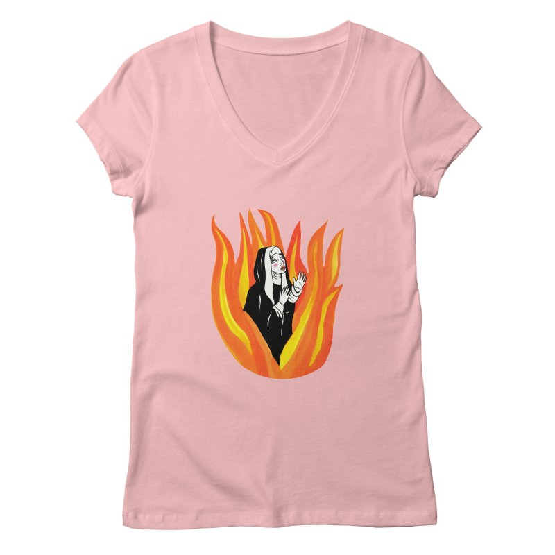 BURNING NUN Women's Regular V-Neck by Hate Baby Comix Artist Shop