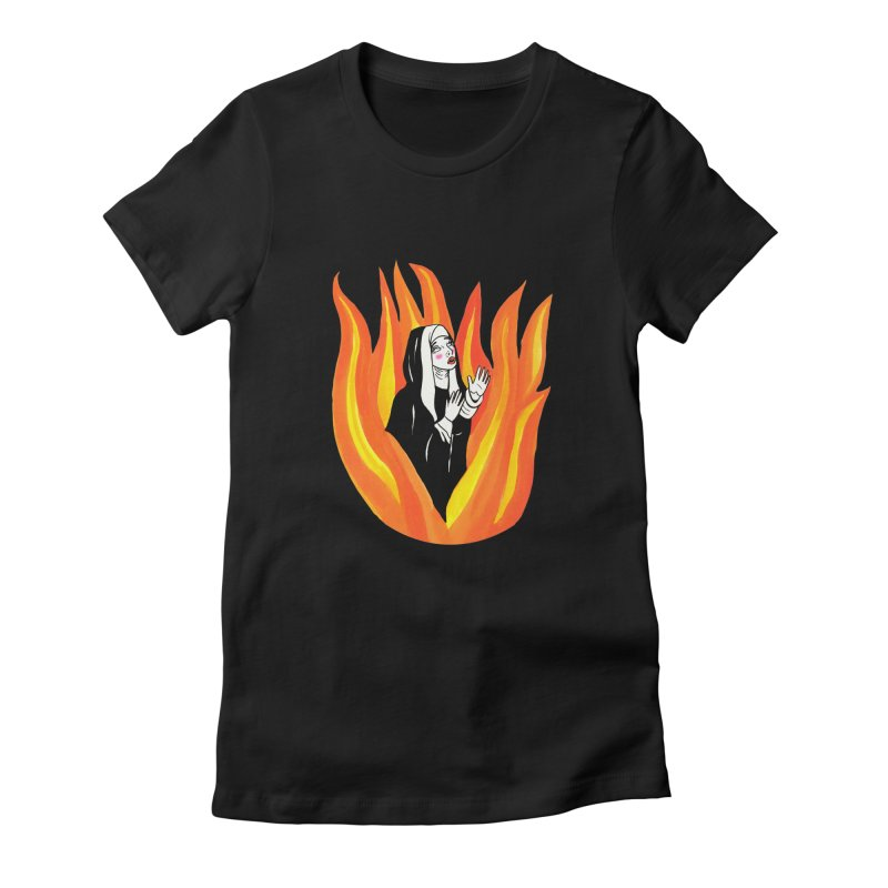 BURNING NUN Women's Fitted T-Shirt by Hate Baby Comix Artist Shop