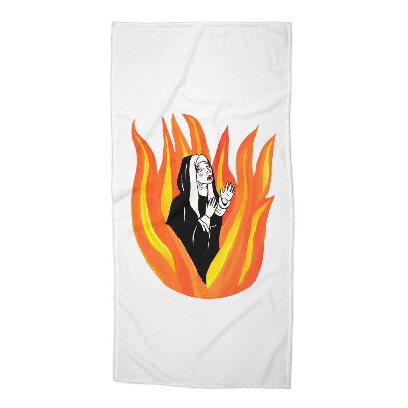 BURNING NUN Accessories Beach Towel by Hate Baby Comix Artist Shop