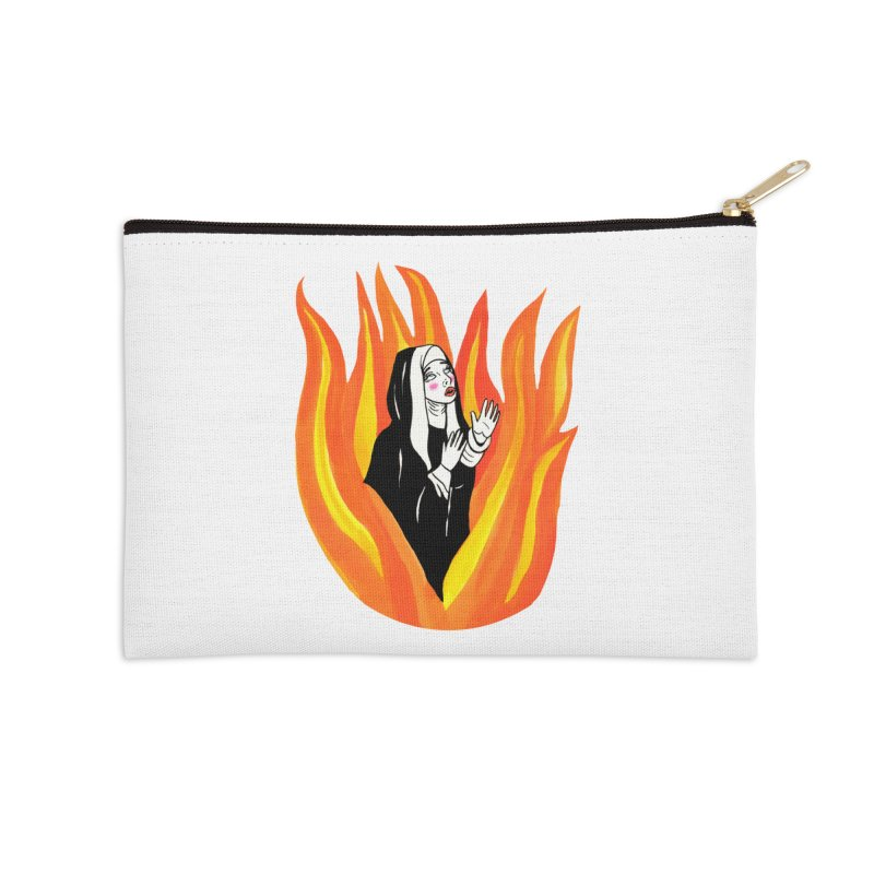 BURNING NUN Accessories Zip Pouch by Hate Baby Comix Artist Shop