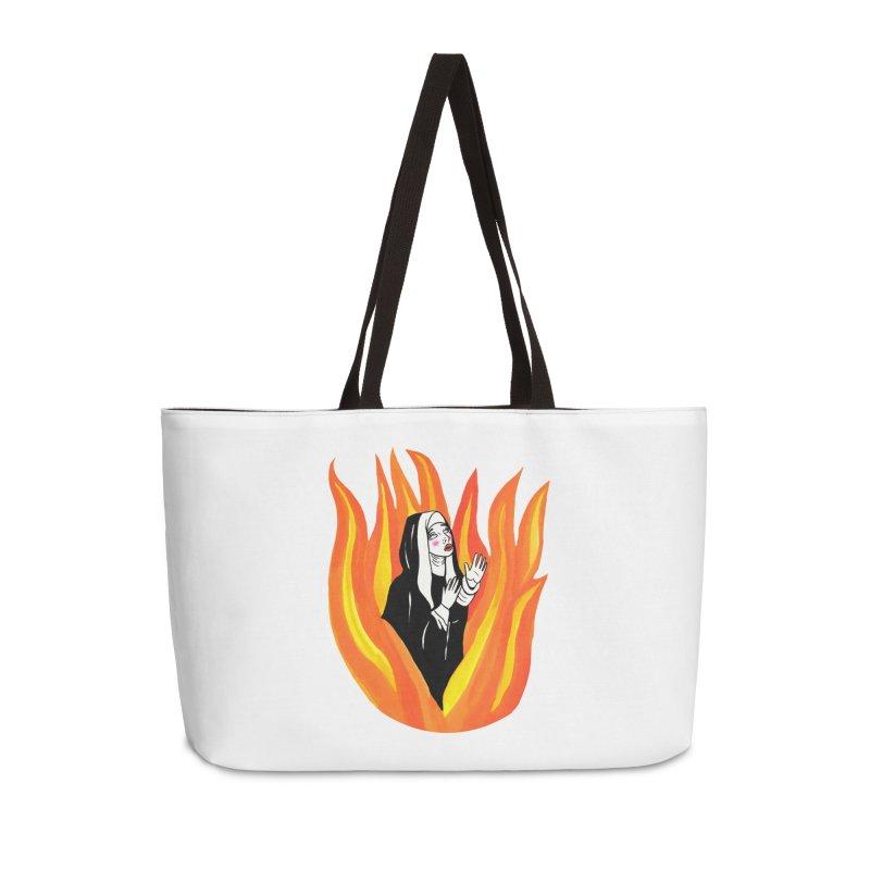 BURNING NUN Accessories Weekender Bag Bag by Hate Baby Comix Artist Shop