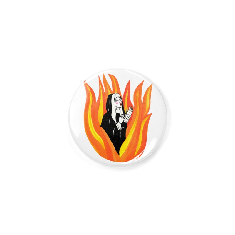 BURNING NUN Accessories Button by Hate Baby Comix Artist Shop