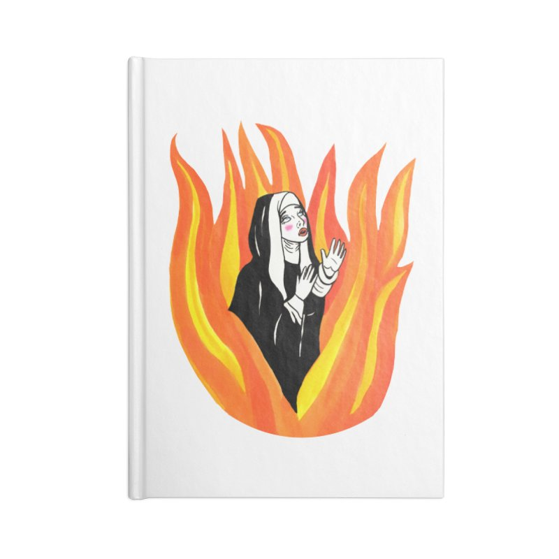 BURNING NUN Accessories Lined Journal Notebook by Hate Baby Comix Artist Shop