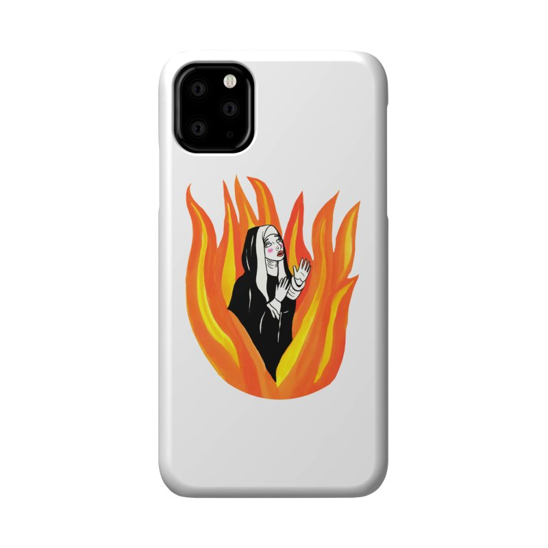 BURNING NUN Accessories Phone Case by Hate Baby Comix Artist Shop