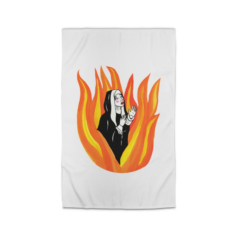 BURNING NUN Home Rug by Hate Baby Comix Artist Shop