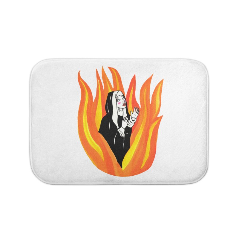 BURNING NUN Home Bath Mat by Hate Baby Comix Artist Shop
