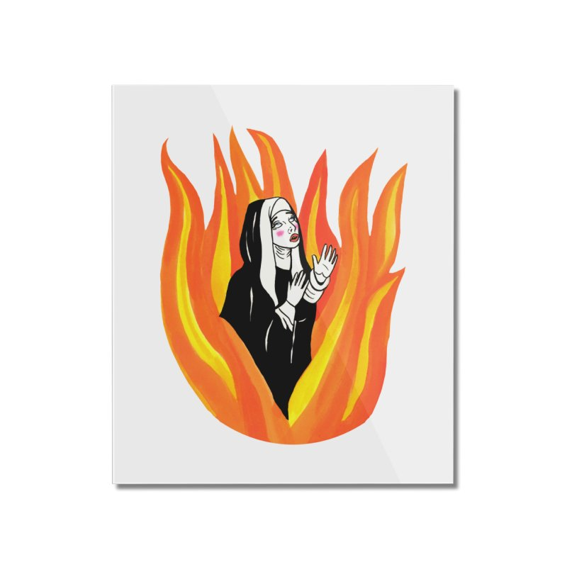 BURNING NUN Home Mounted Acrylic Print by Hate Baby Comix Artist Shop