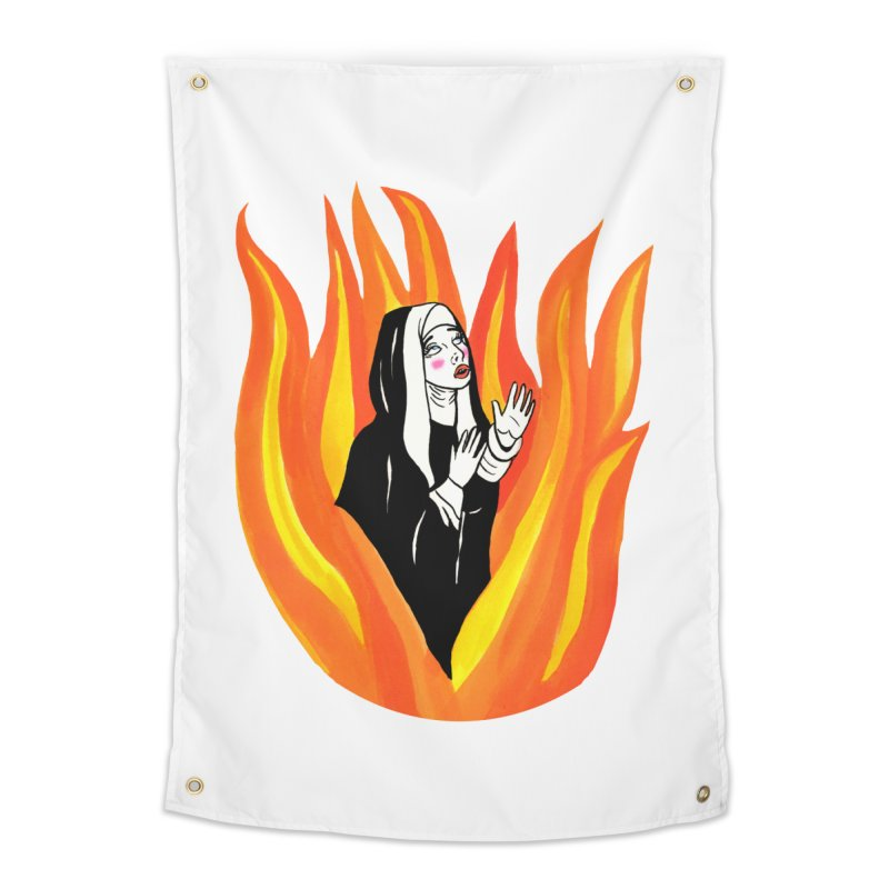 BURNING NUN Home Tapestry by Hate Baby Comix Artist Shop
