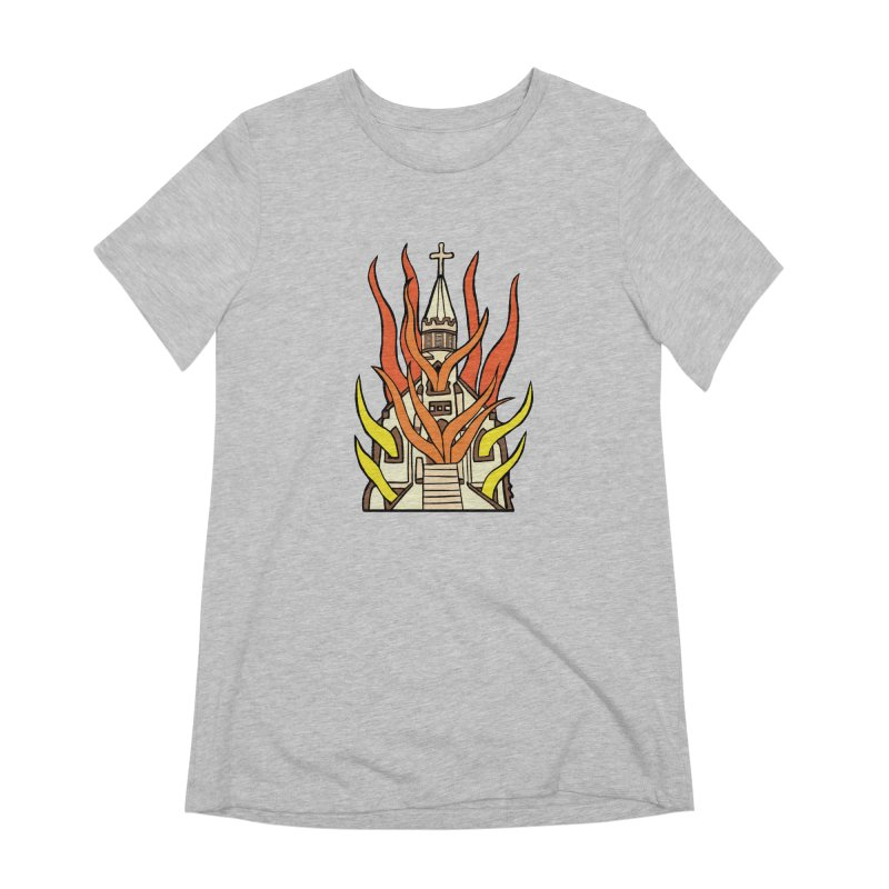 BURNING CHURCH Women's Extra Soft T-Shirt by Hate Baby Comix Artist Shop
