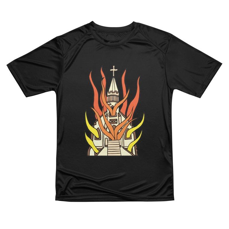 BURNING CHURCH Men's Performance T-Shirt by Hate Baby Comix Artist Shop