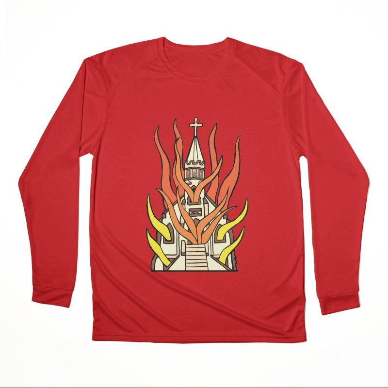 BURNING CHURCH Men's Performance Longsleeve T-Shirt by Hate Baby Comix Artist Shop