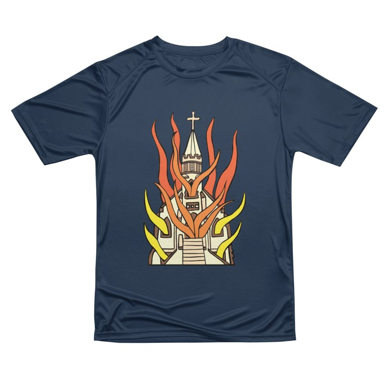 BURNING CHURCH Men's Performance T-Shirt by Hate Baby Comix Artist Shop