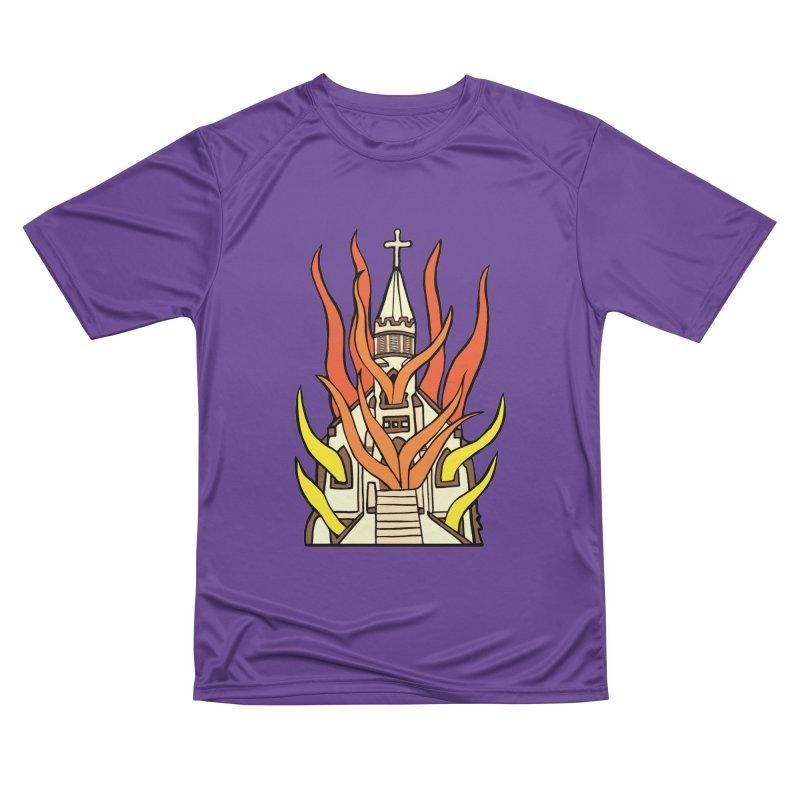 BURNING CHURCH Women's Performance Unisex T-Shirt by Hate Baby Comix Artist Shop