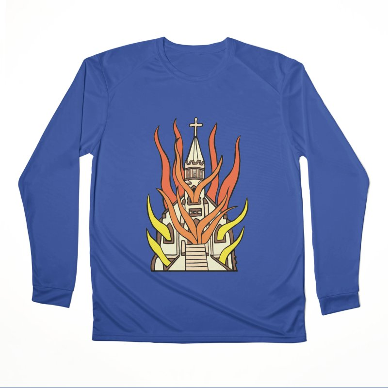 BURNING CHURCH Women's Performance Unisex Longsleeve T-Shirt by Hate Baby Comix Artist Shop