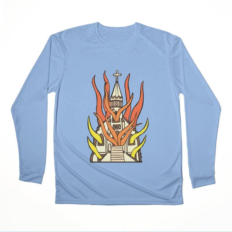 BURNING CHURCH Women's Longsleeve T-Shirt by Hate Baby Comix Artist Shop