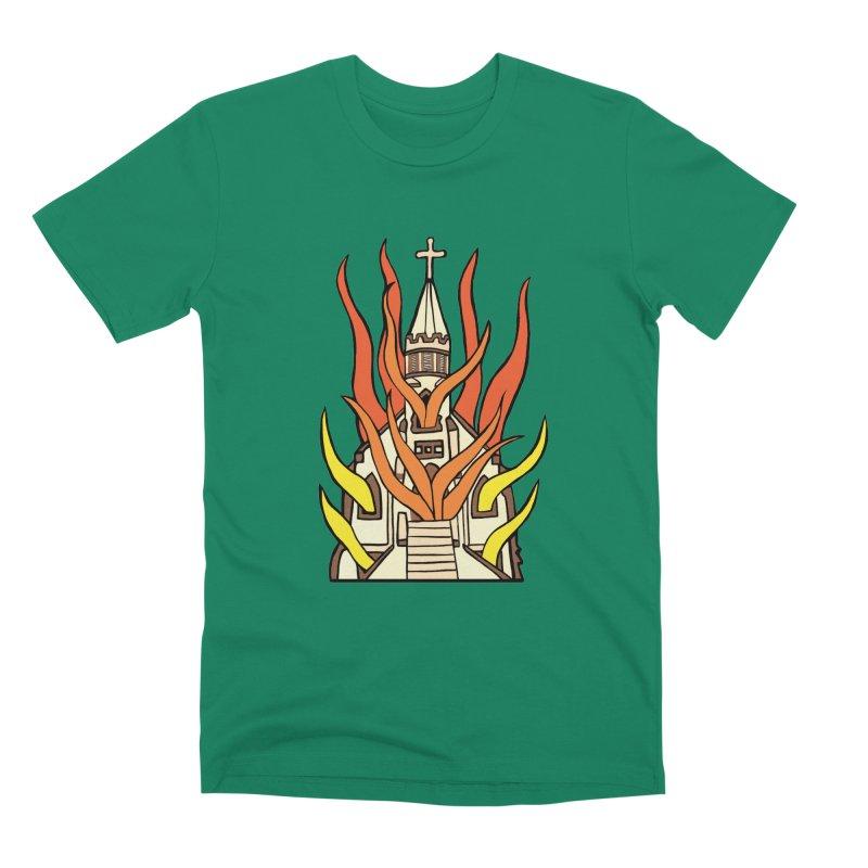 BURNING CHURCH Men's Premium T-Shirt by Hate Baby Comix Artist Shop
