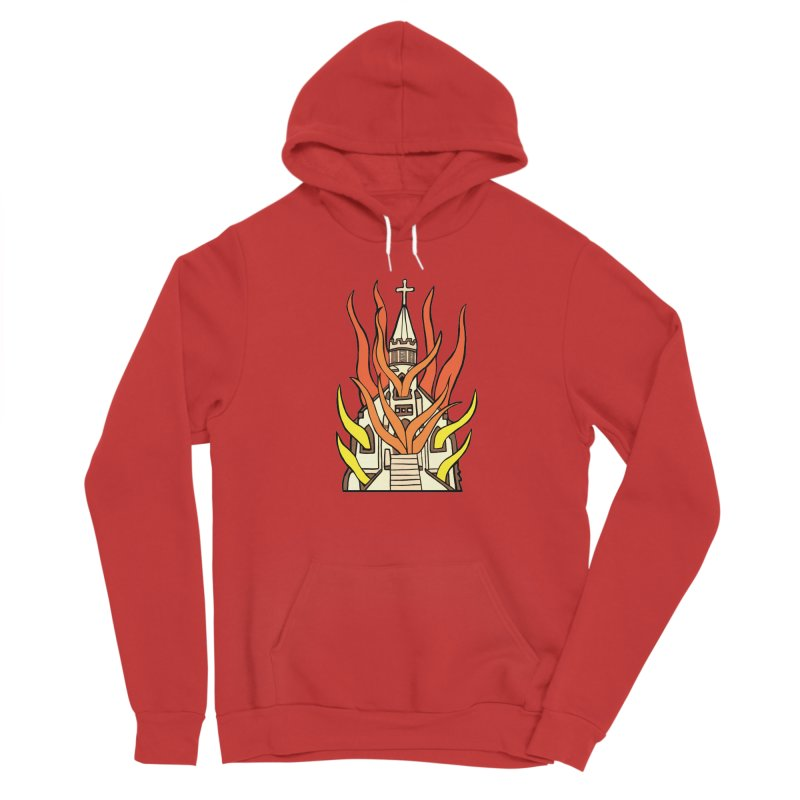 BURNING CHURCH Women's Pullover Hoody by Hate Baby Comix Artist Shop