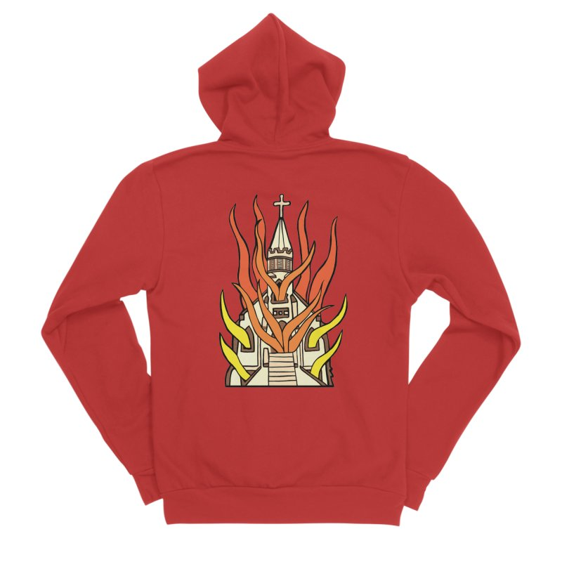 BURNING CHURCH Men's Zip-Up Hoody by Hate Baby Comix Artist Shop