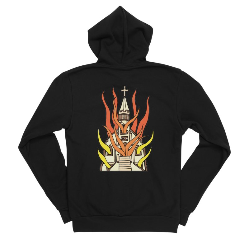BURNING CHURCH Men's Sponge Fleece Zip-Up Hoody by Hate Baby Comix Artist Shop