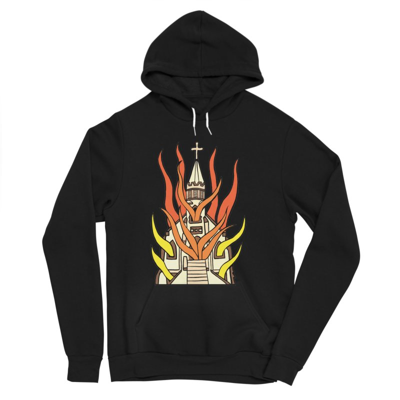 BURNING CHURCH Women's Sponge Fleece Pullover Hoody by Hate Baby Comix Artist Shop