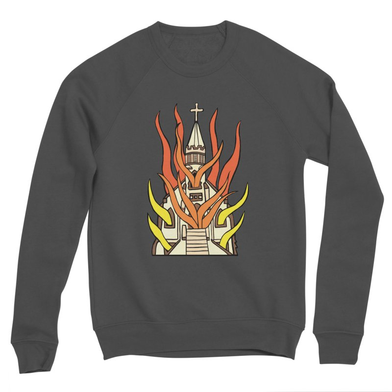 BURNING CHURCH Women's Sponge Fleece Sweatshirt by Hate Baby Comix Artist Shop
