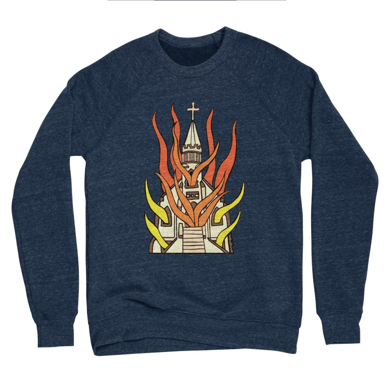 BURNING CHURCH Men's Sponge Fleece Sweatshirt by Hate Baby Comix Artist Shop