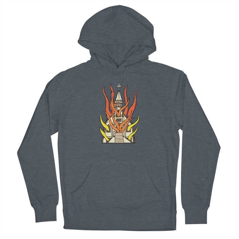 BURNING CHURCH Women's French Terry Pullover Hoody by Hate Baby Comix Artist Shop