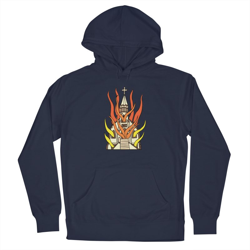BURNING CHURCH Men's Pullover Hoody by Hate Baby Comix Artist Shop
