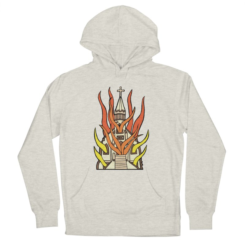 BURNING CHURCH Men's French Terry Pullover Hoody by Hate Baby Comix Artist Shop