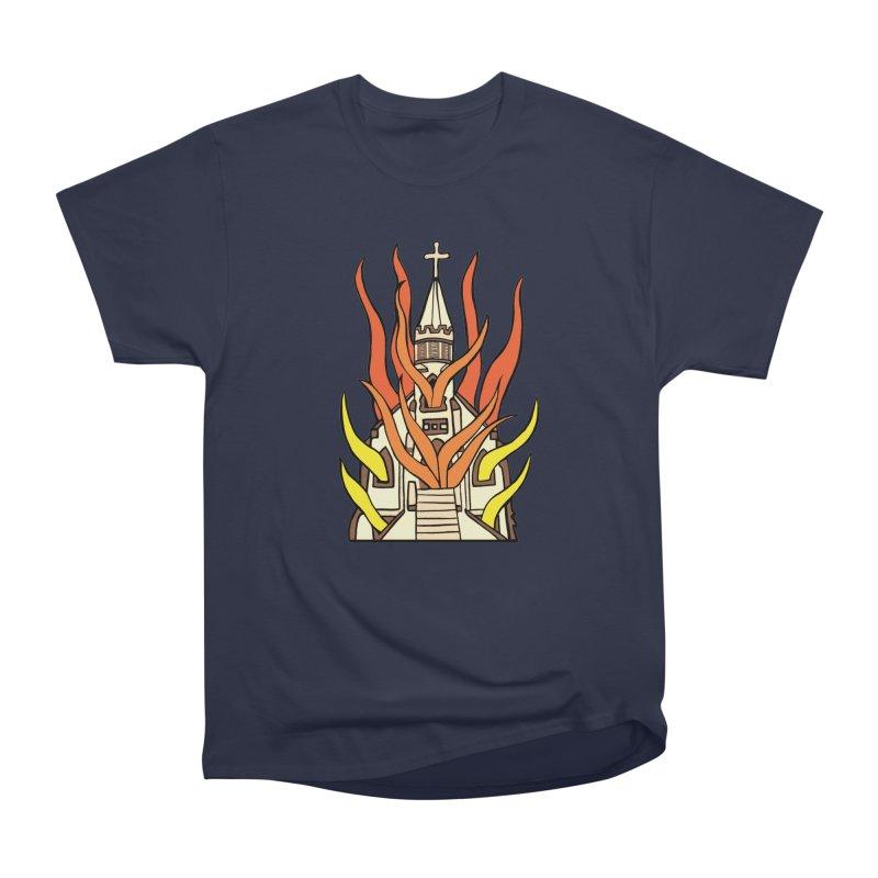 BURNING CHURCH Women's Heavyweight Unisex T-Shirt by Hate Baby Comix Artist Shop